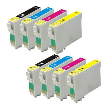8 Multipack Epson T1285 BK/C/M/Y High Quality Remanufactured Ink Cartridges. Includes 2 Black, 2 Cyan, 2 Magenta, 2 Yellow