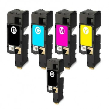 5 Multipack Dell 593-11140-43 BK/C/M/Y High Quality Remanufactured Laser Toners. Includes 2 Black, 1 Cyan, 1 Magenta, 1 Yellow