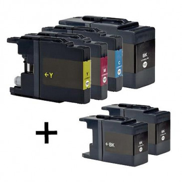 6 Multipack Brother other LC1280XL BK/C/M/Y High Yield Compatible Ink Cartridges. Includes 3 Black, 1 Cyan, 1 Magenta, 1 Yellow