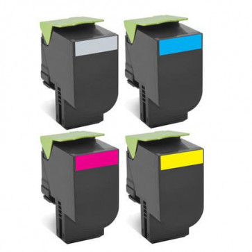 4 Multipack Lexmark 80C2XKE High Quality Remanufactured Laser Toners. Includes 1 Black, 1 Cyan, 1 Magenta, 1 Yellow