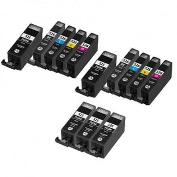 13 Multipack Canon PGI-525 BK & CLI-526 BK/C/M/Y High Quality Compatible Ink Cartridges. Includes 5 Photo Black, 2 Black, 2 Cyan, 2 Magenta, 2 Yellow