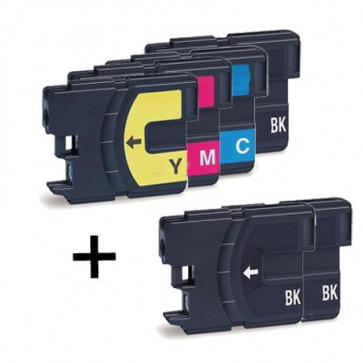 6 Multipack Brother LC1100 HY High Quality Compatible Ink Cartridges. Includes 3 Black, 1 Cyan, 1 Magenta, 1 Yellow