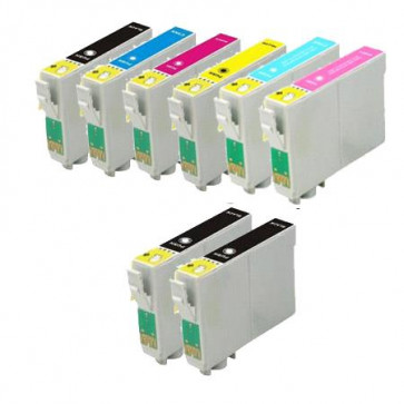 8 Multipack Epson T0807 BK/C/M/Y/LC/LM High Quality Compatible Ink Cartridges. Includes 3 Black, 1 Cyan, 1 Magenta, 1 Yellow, 1 Light Cyan, 1 Light Magenta