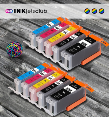 Canon PGI 550 & CLI 551 High Yield 10 Compatible Ink Cartridges Multipack.  Includes 2 Pigment Black, 2 Black, 1 Cyan, 1 Magenta, 1 Yellow