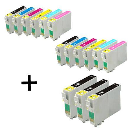 15 Multipack Epson T0807 BK/C/M/Y/LC/LM High Quality Remanufactured Ink Cartridges. Includes 5 Black, 2 Cyan, 2 Magenta, 2 Yellow, 2 Light Cyan, 2 Light Magenta