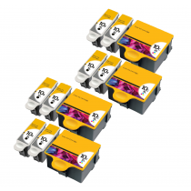 12 Multipack Kodak 10 XL High Yield Compatible Ink Cartridges. Includes 8 Black, 4 Colour
