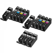 13 Multipack Canon PGI-525 BK & CLI-526 BK/C/M/Y High Quality Compatible Ink Cartridges. Includes 5 Photo Black, 2 Black, 2 Cyan, 2 Magenta, 2 Yellow