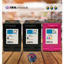 HP 300XL Multi Pack High Yield Remanufactured Ink Cartridges. Includes 2 Black and 1 Colour