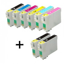 8 Multipack Epson T0791/2/3/4/5/6 High Quality Remanufactured Ink Cartridges. Includes 3 Black, 1 Cyan, 1 Magenta, 1 Yellow, 1 Light Cyan, 1 Light Magenta