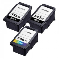 3 Multipack Canon PG-545XL BK & CL-546XL CL High Yield Remanufactured Ink Cartridges. Includes 2 Black, 1 Colour