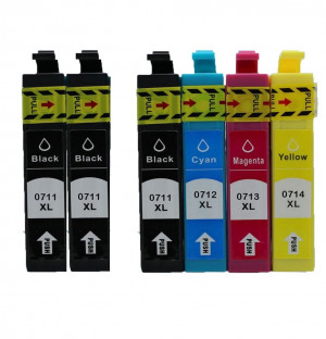 6 Multipack Epson T0715 BK/C/M/Y High Quality Remanufactured Ink Cartridges. Includes 3 Black, 1 Cyan, 1 Magenta, 1 Yellow