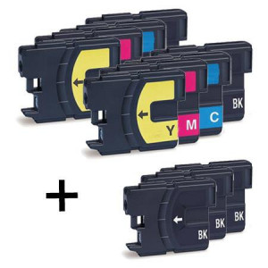 11 Multipack Brother LC 1100 High Yield MultiMultipack. Includes 5 Black, 2 Cyan, 2 Magenta, 2 Yellow Compatible Ink Cartridges