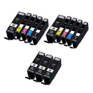 13 Multipack Canon PGI-550XL BK & CLI-551XL BK/C/M/Y High Yield Compatible Ink Cartridges. Includes 5 Black, 2 Photo Black, 2 Cyan, 2 Magenta, 2 Yellow