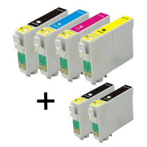 6 Multipack Epson T1301-4 BK/C/M/Y High Quality Remanufactured Ink Cartridges. Includes 3 Black, 1 Cyan, 1 Magenta, 1 Yellow