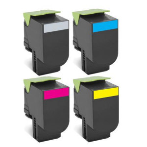 4 Multipack Lexmark 80C2HK0 High Quality Remanufactured Laser Toners. Includes 1 Black, 1 Cyan, 1 Magenta, 1 Yellow